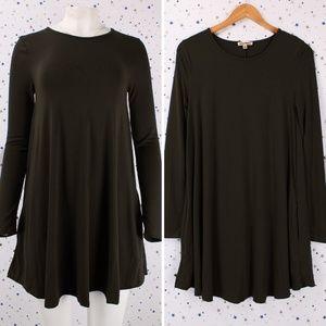 Dresses & Skirts - Long Sleeve Swing Dress w/ Side Pockets Dark Olive